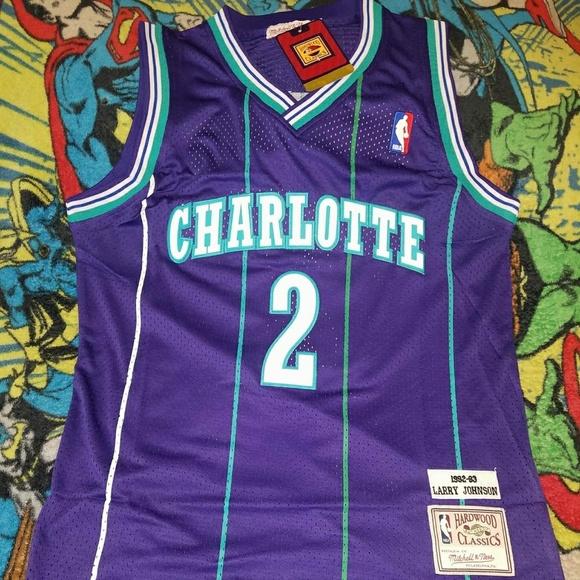 d5a8f13d0bb Mitchell & Ness Shirts | Larry Johnson Charlotte Hornets Jersey Size ...